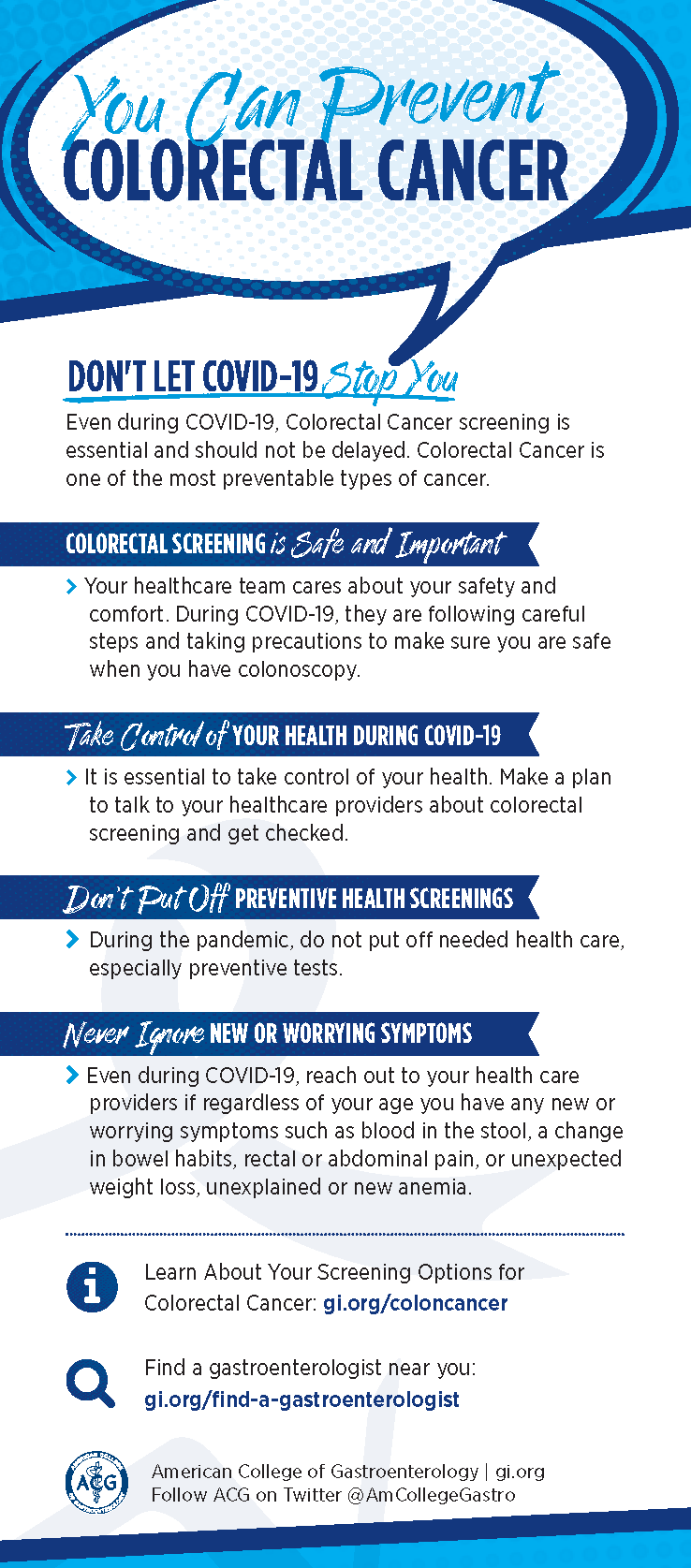 Don't Let COVID-19 Stop You! You Can Prevent Colorectal Cancer